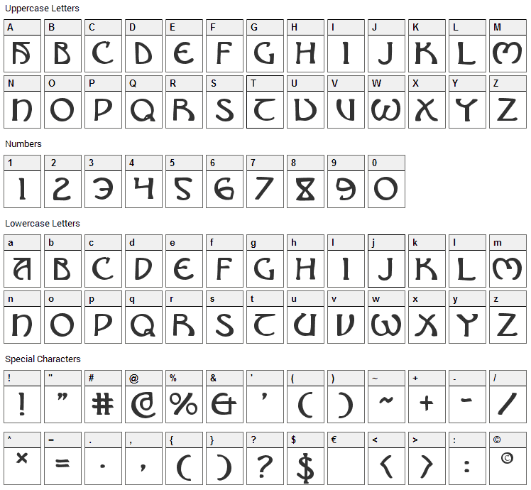 Brin Athyn Font Character Map