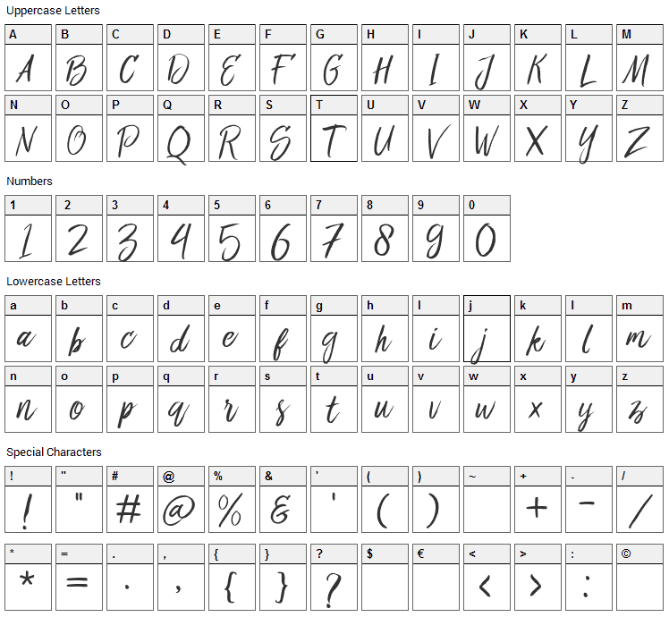 Bringshoot Font Character Map