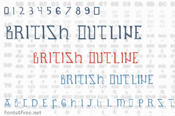 British Outline Majuscules Font