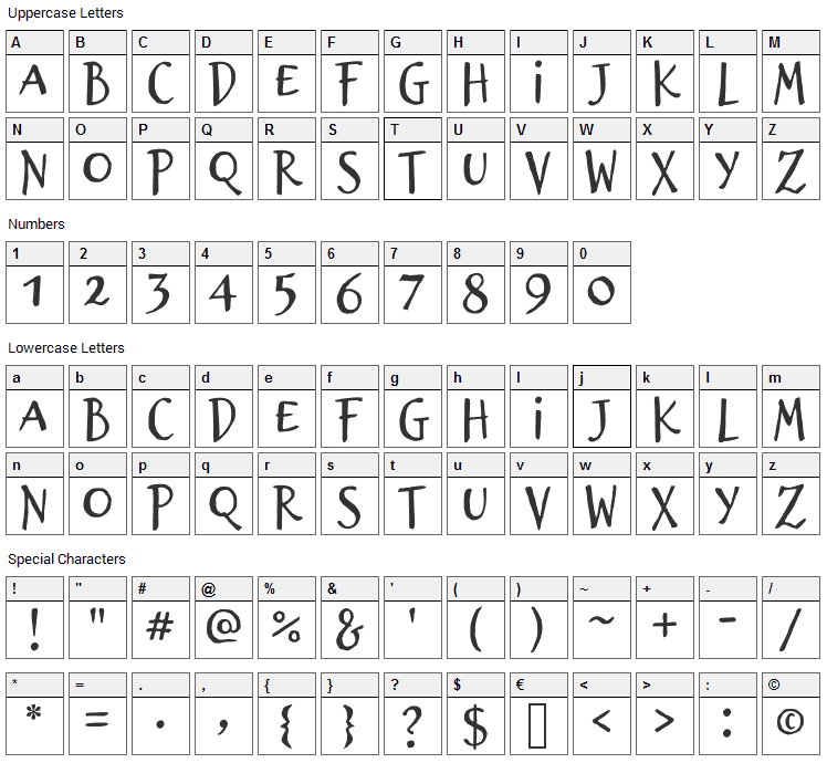 Brizel Font Character Map