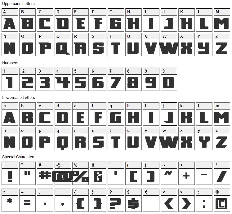 Broad Font Character Map