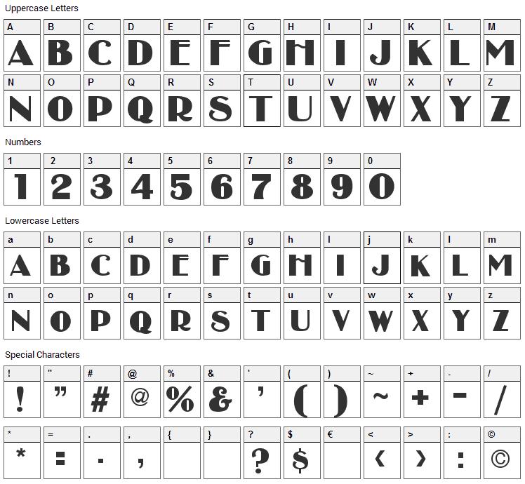 Broadbay Font Character Map