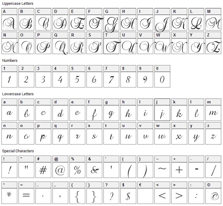 Brock Script Font Character Map