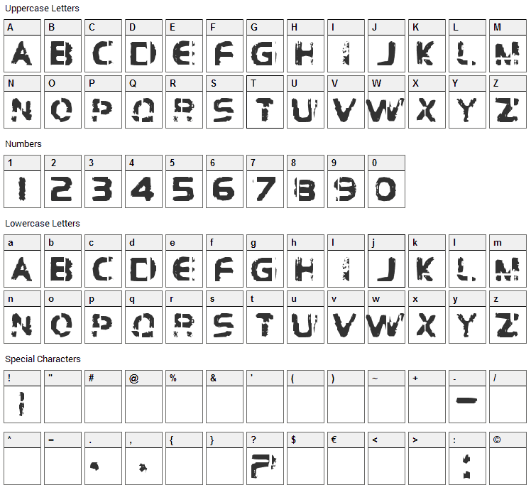 Brockelmann Font Character Map