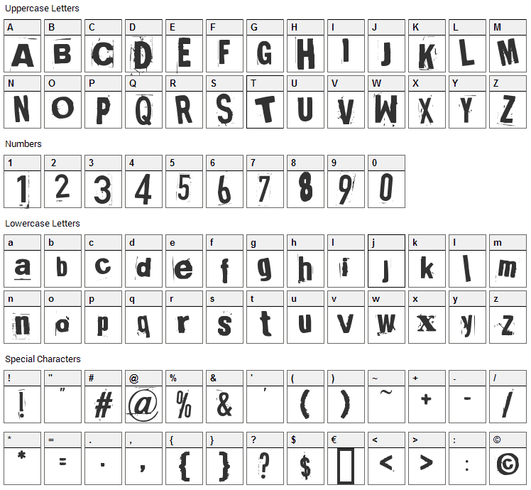 Broken 15 Font Character Map