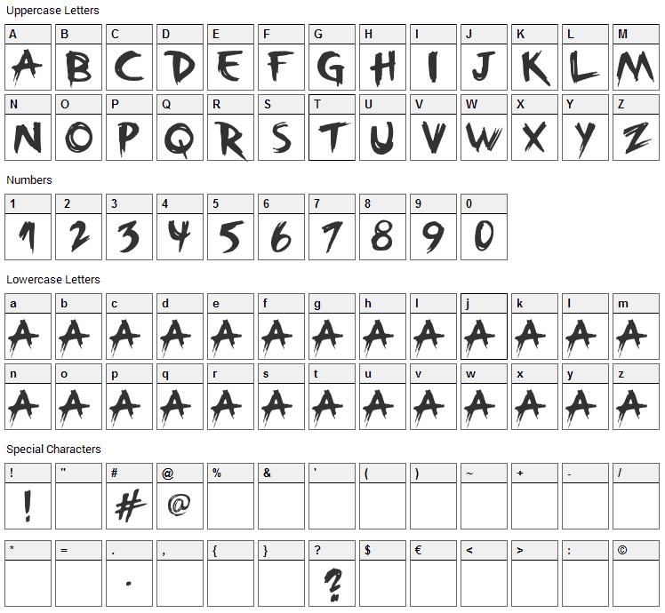 Broken Font Character Map