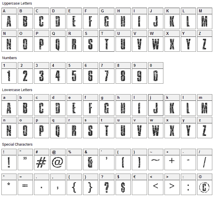 Broken Glass Font Character Map