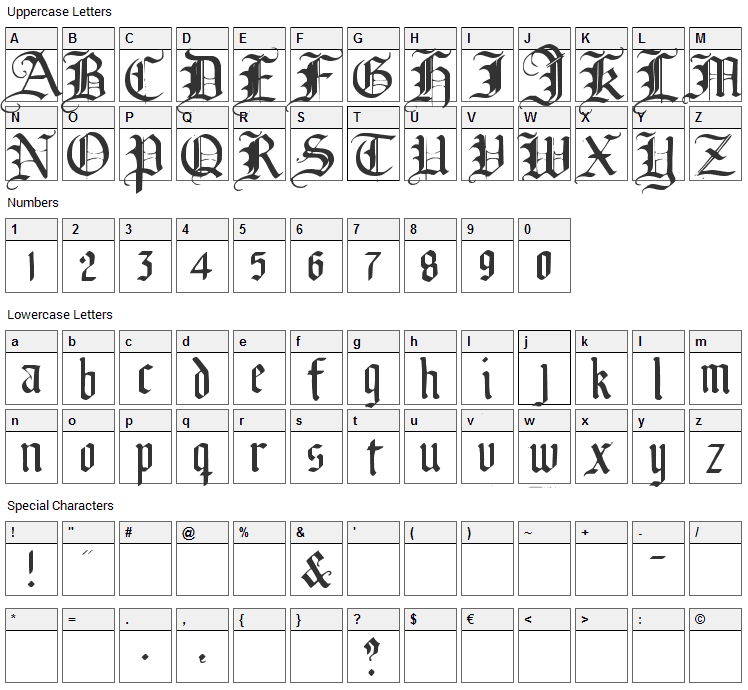 Broken Planewing Font Character Map