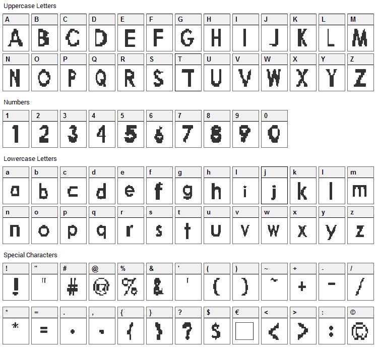 Broken Robot Font Character Map