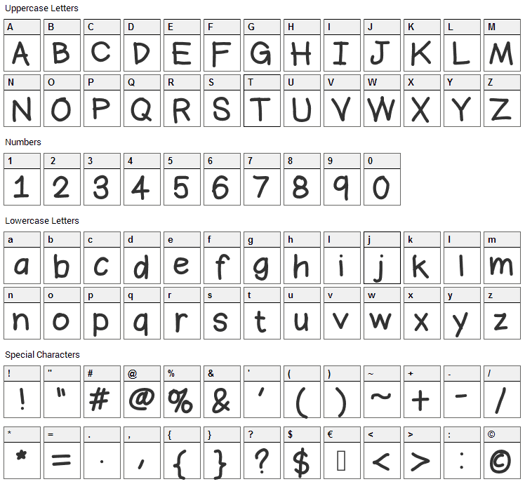 Bromine Font Character Map