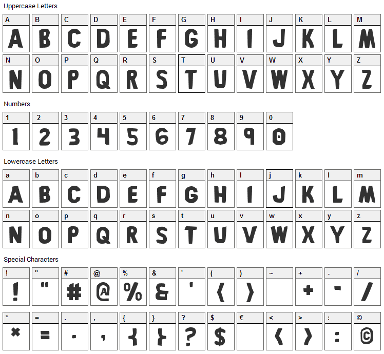Bronic Font Character Map