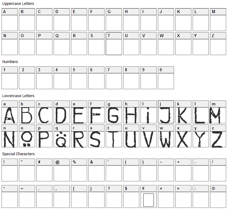 Brother Bear Font Character Map