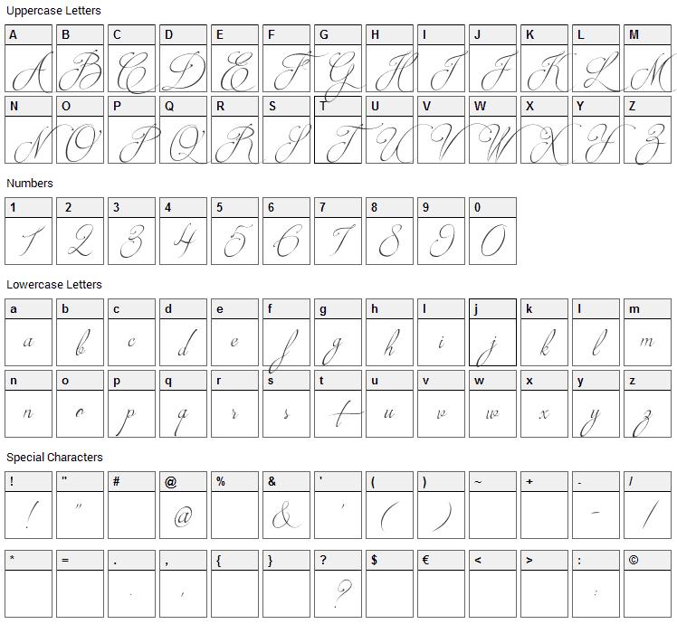 Brotherhood Script Font Character Map