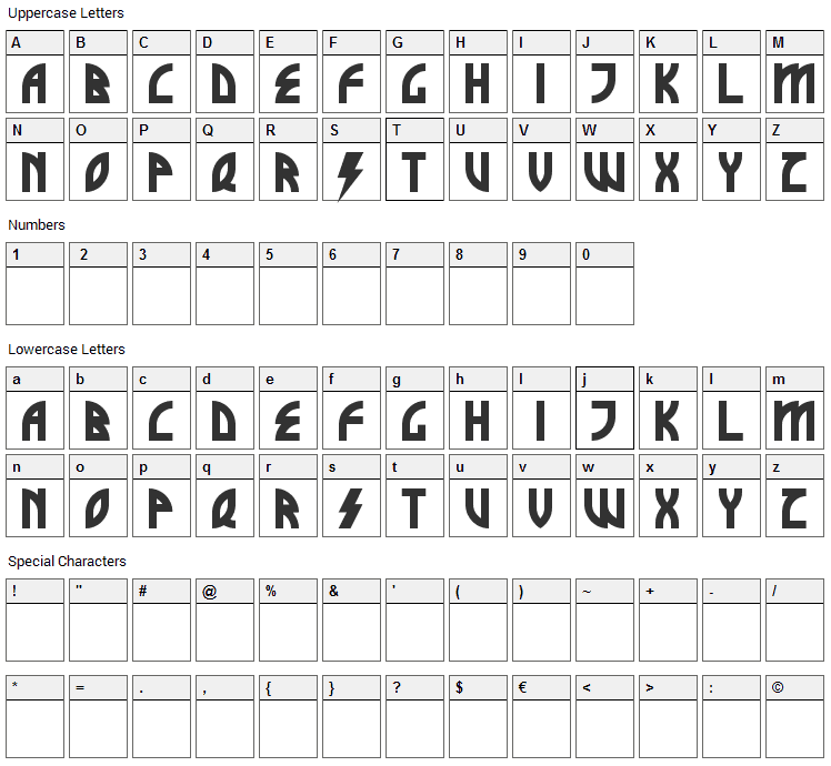 Brothers of Metal Font Character Map