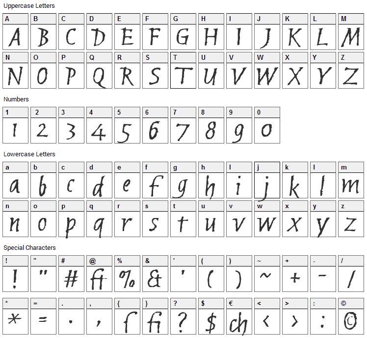 Brubeck Font Character Map