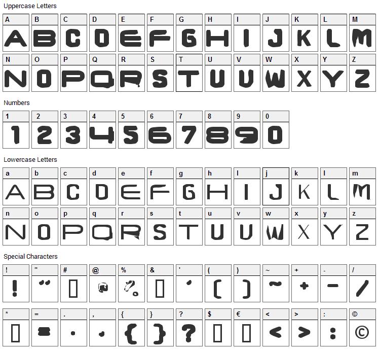 Brunst Caps Font Character Map