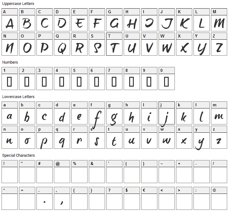 Brush Tip Terrence Font Character Map
