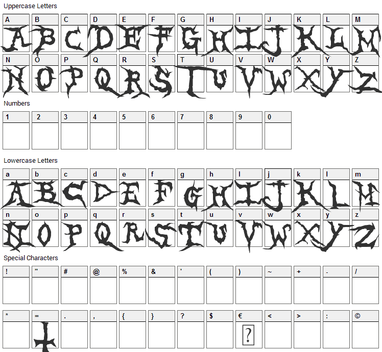 Brutal Tooth Font Character Map