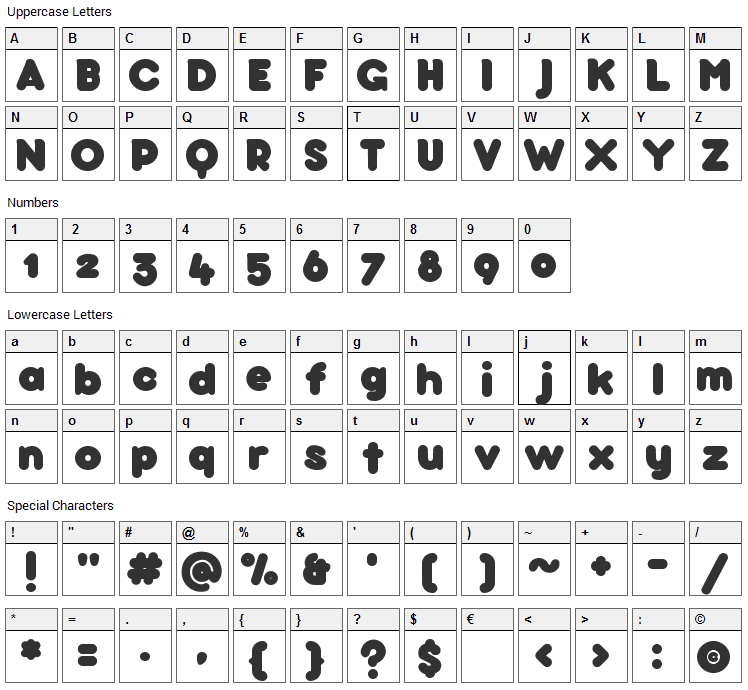 Bubbleboddy Font Character Map