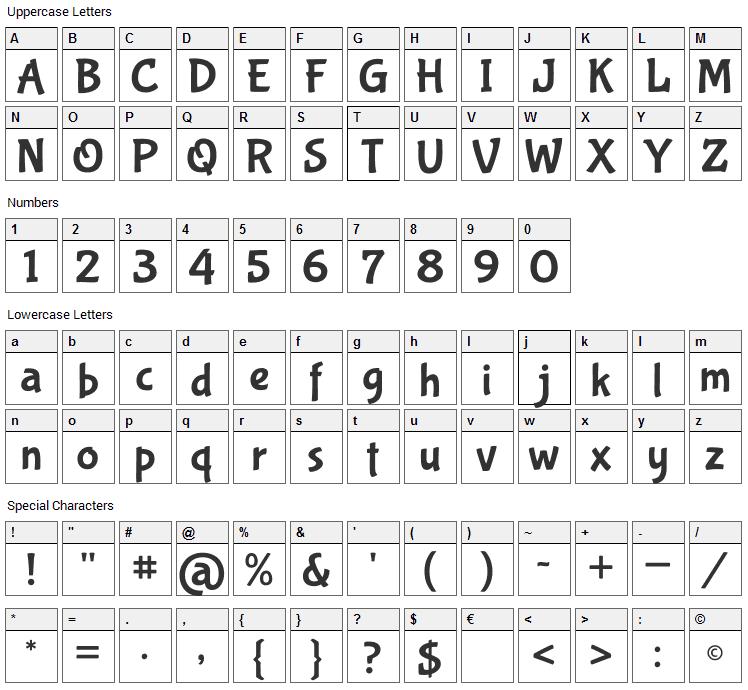 Bubblegum Sans Font Character Map
