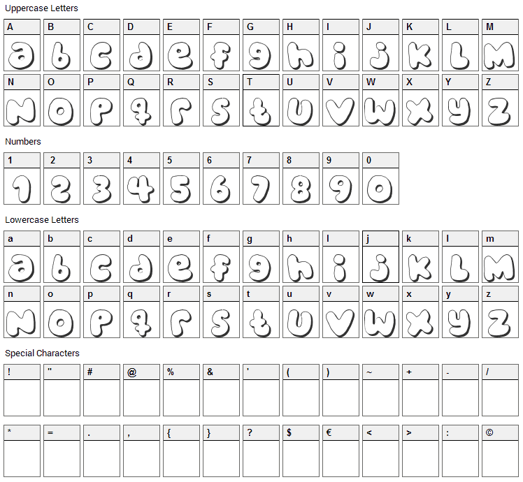 Bubblegums Font Character Map