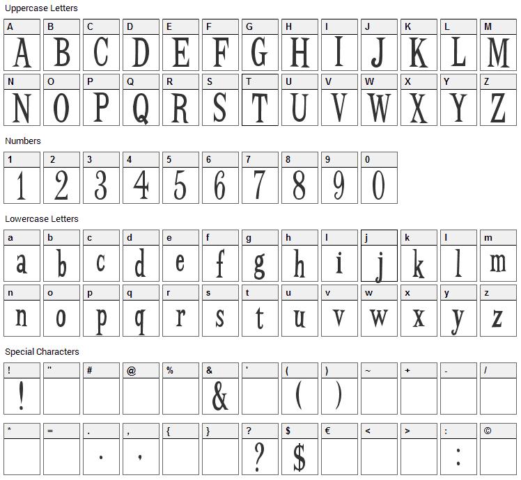 BudBird Font Character Map