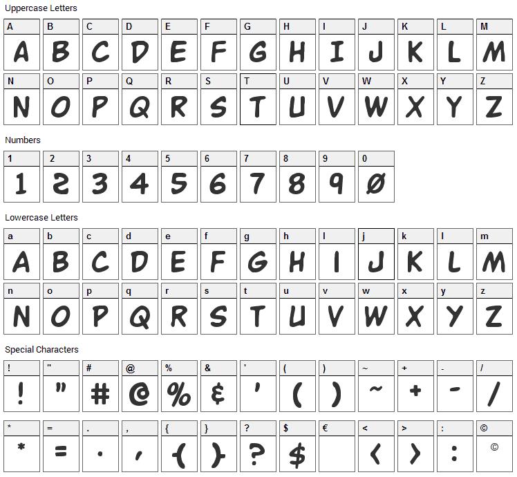 Buddy Champion Font Character Map