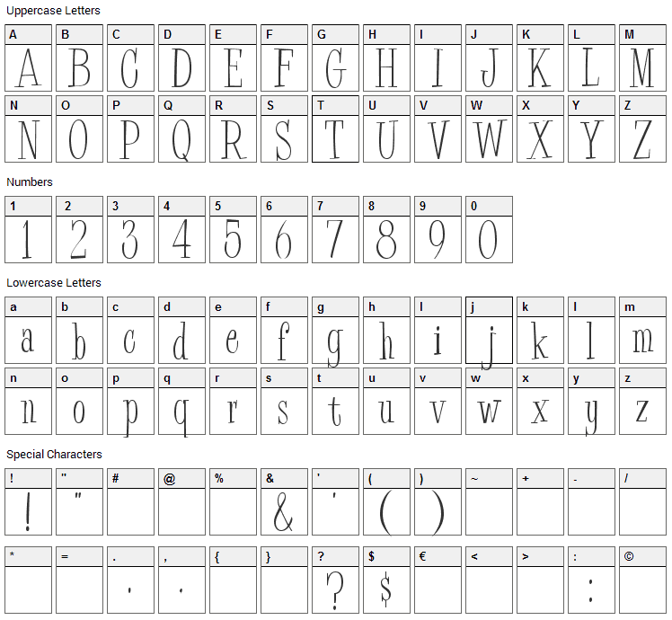 BudEasy Font Character Map