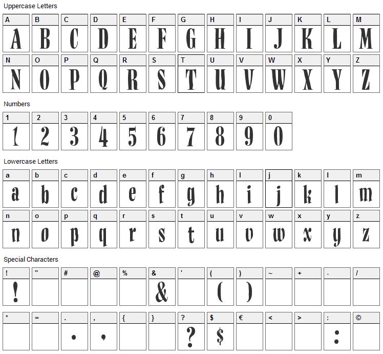 BudNull Font Character Map