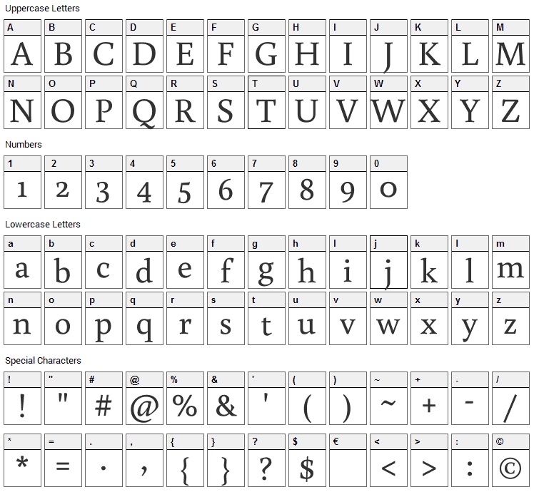 Buenard Font Character Map