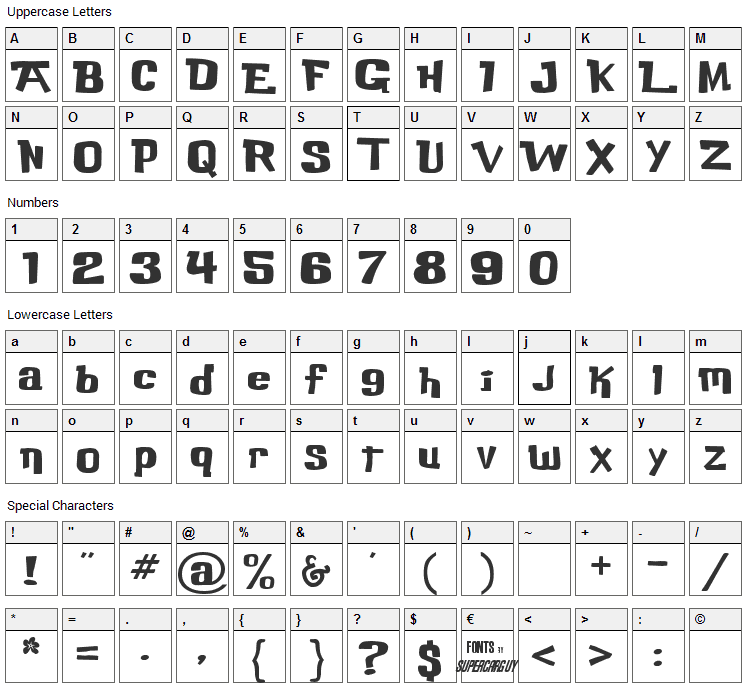 Buka Bird Font Character Map
