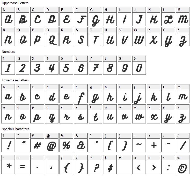 Bukhari Script Font Character Map