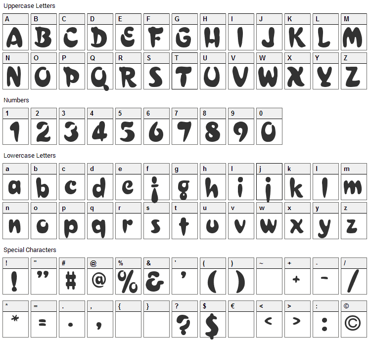 Bulge Font Character Map