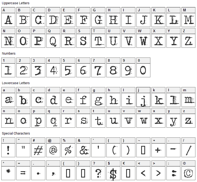 Bulky Refuse Type Font Character Map