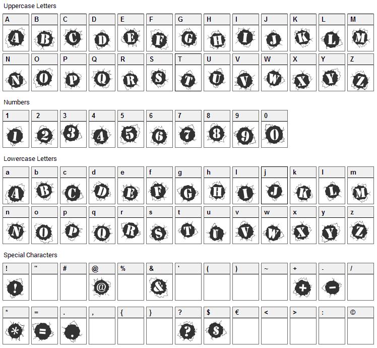 Bullet Holz Font Character Map