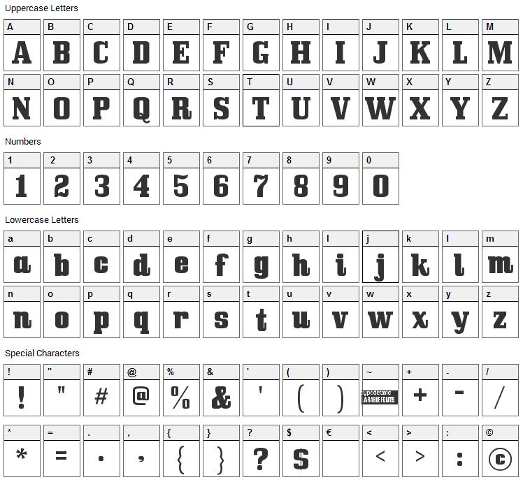Bullpen Font Character Map