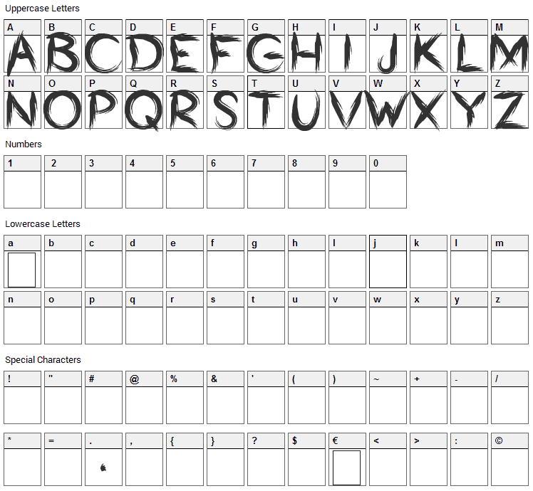 Bumrush Font Character Map