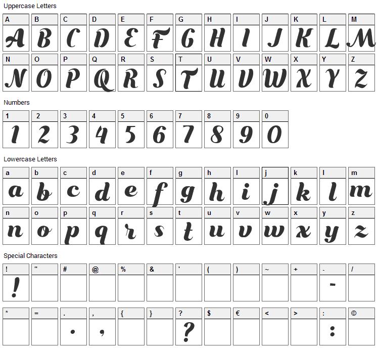 Bungasai Font Character Map