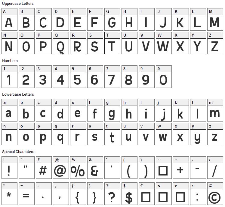 Burbin Casual Font Character Map
