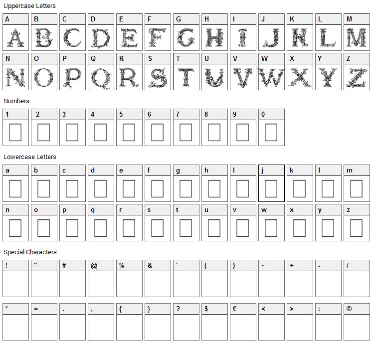 Burgoyne Initials Font Character Map