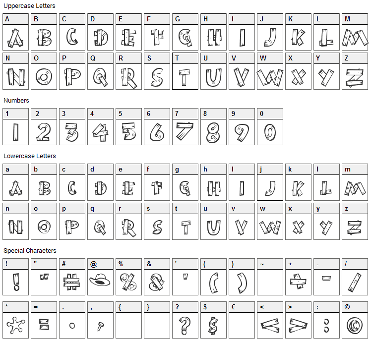 Burnstown Dam Font Character Map