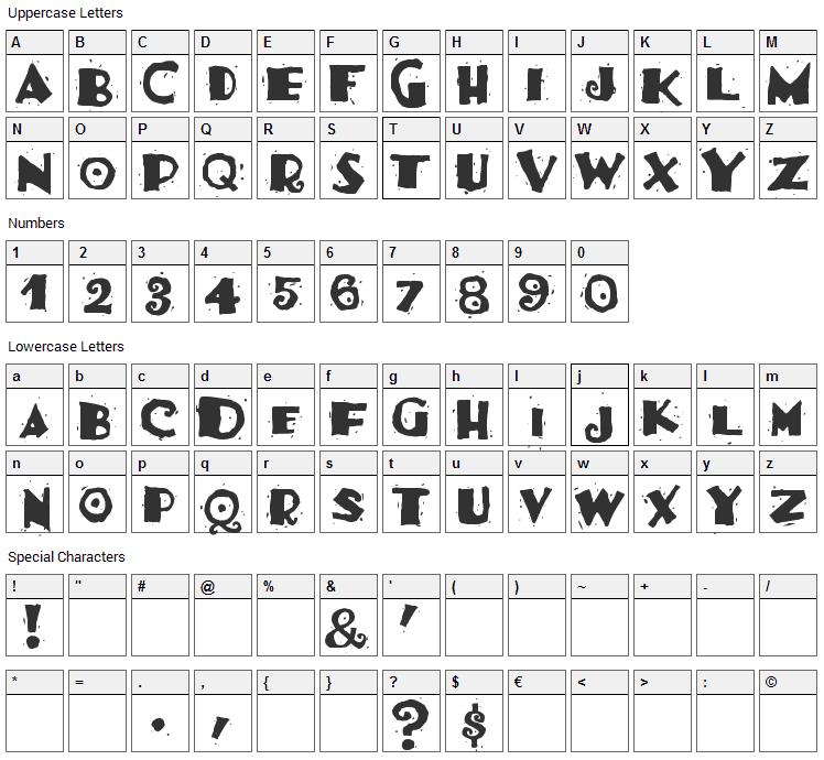 Burrito Font Character Map
