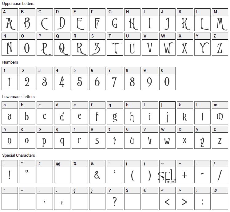 Burtons Nightmare Font Character Map