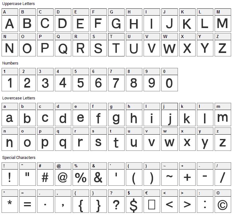 Burvetica Font Character Map