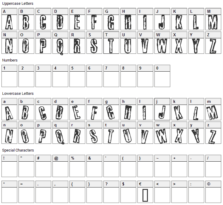 Busseta Font Character Map