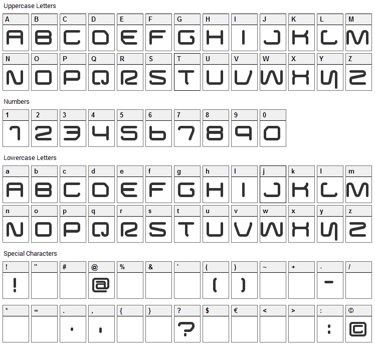 Buster Font Character Map