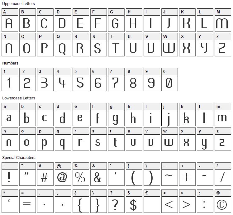Butter Font Character Map