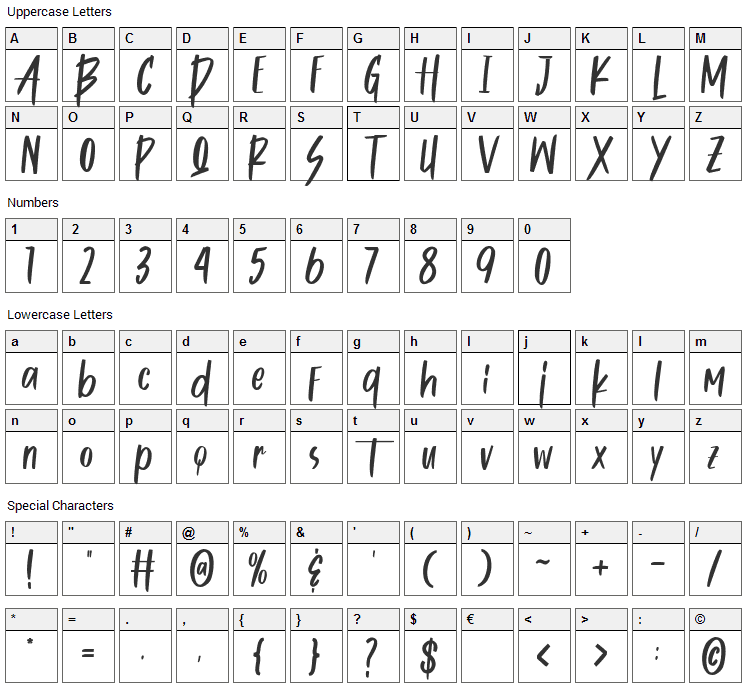 Butters Mine Font Character Map