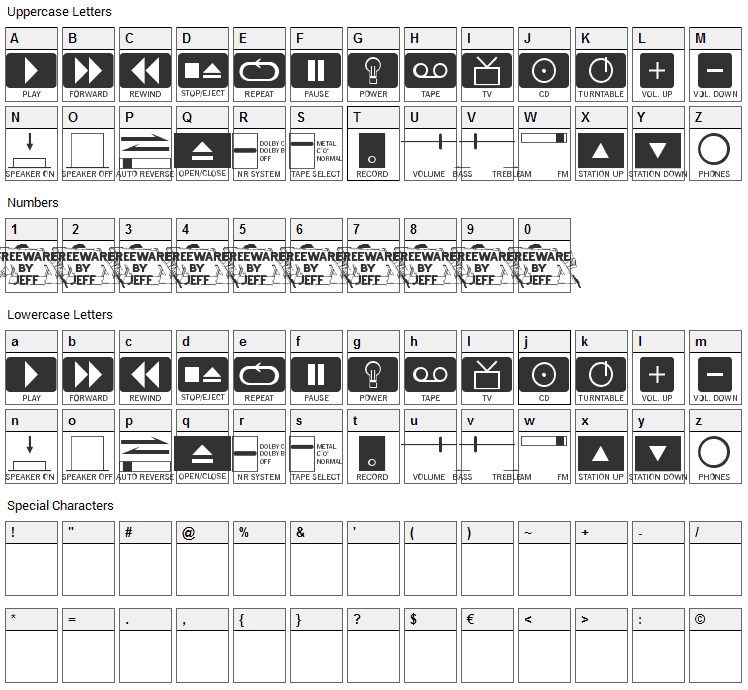 Buttons and Switches Font Character Map