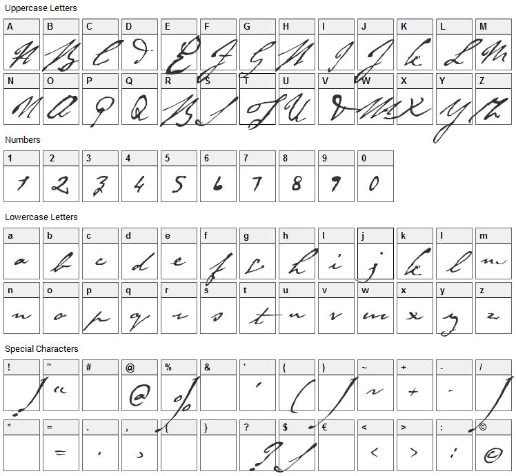 Byron Font Character Map